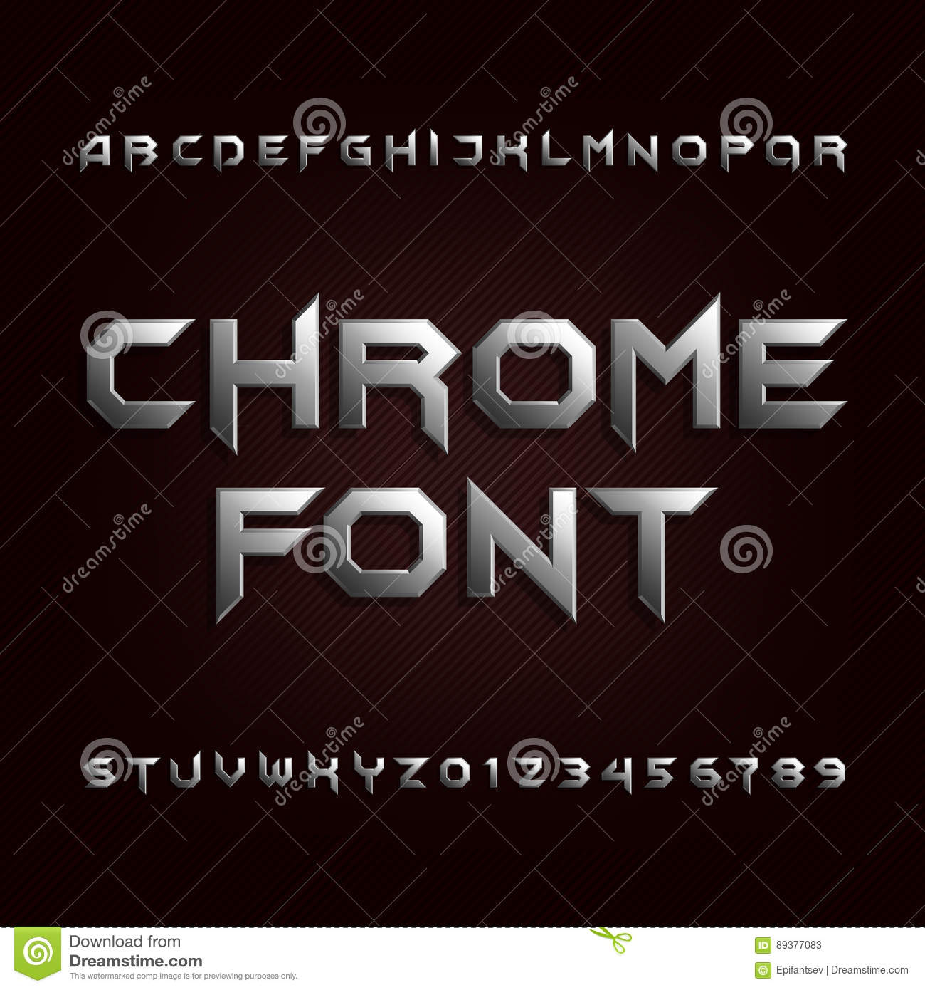 Silver Effect Letters Alphabet: Chrome Alphabet Font. Metallic Effect Letters And Numbers