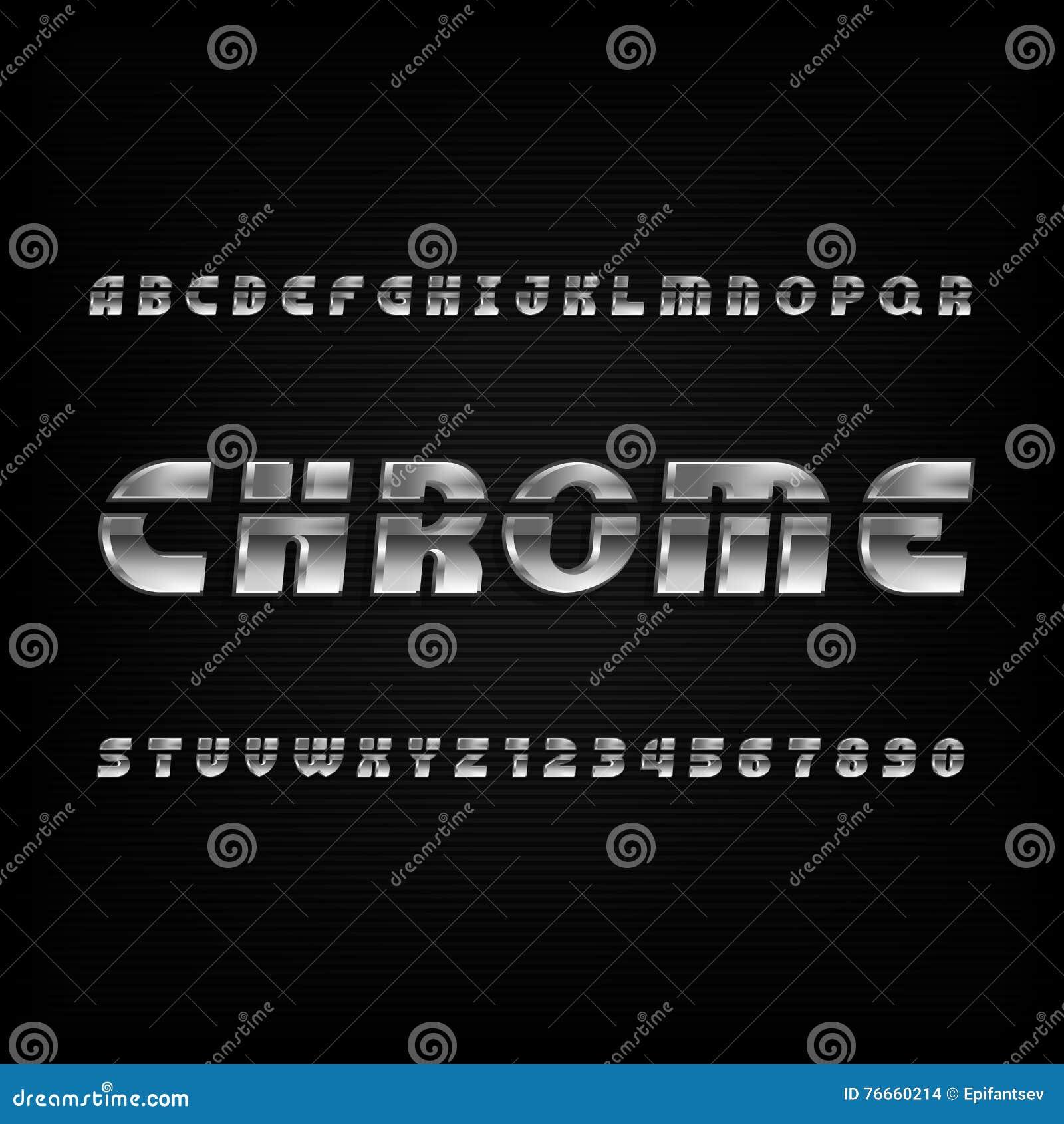 Text Decoration Italic: Chrome Alphabet Font. Metallic Effect Sans Serif Letters