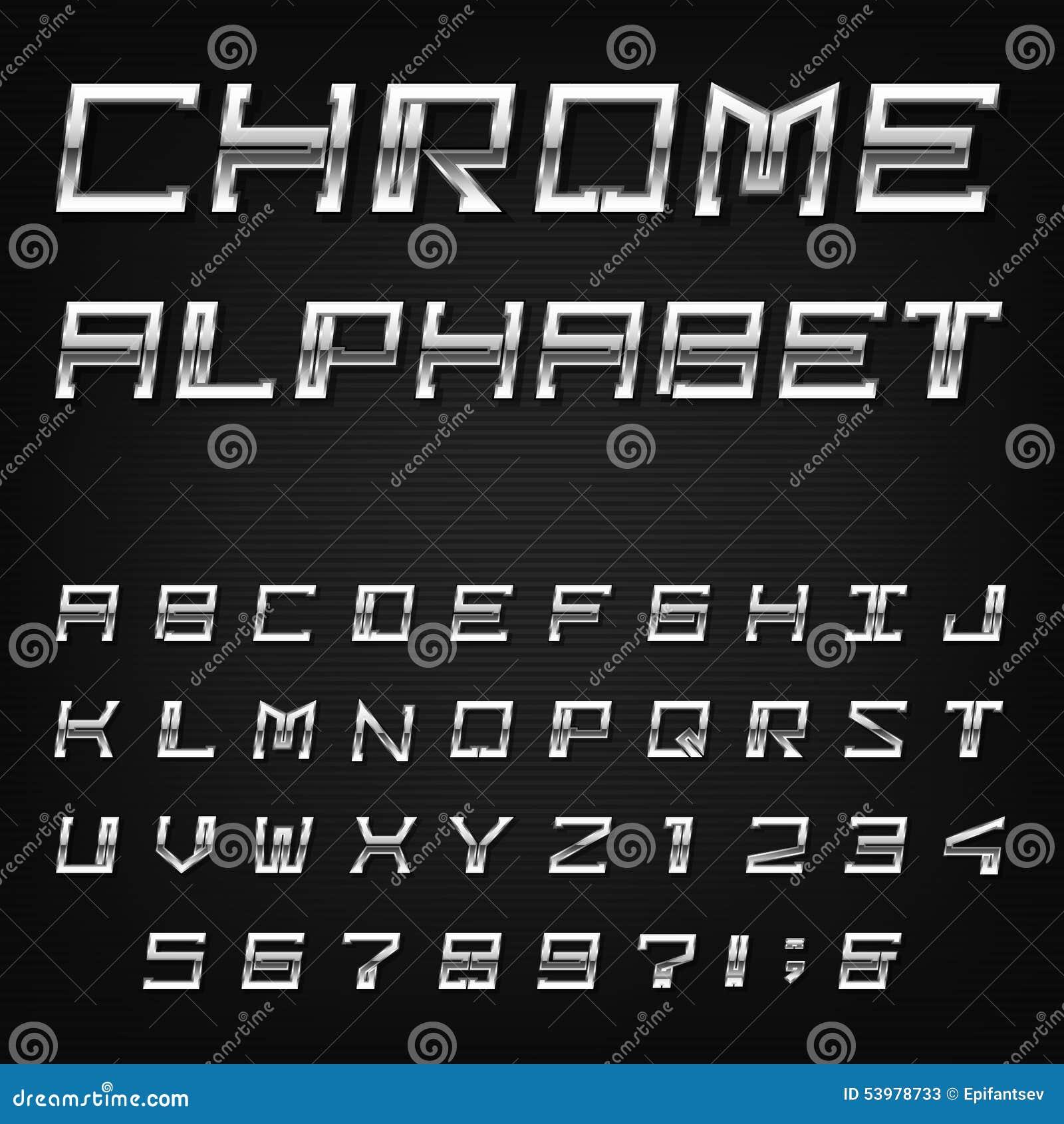 Silver Effect Letters Alphabet: Chrome Alphabet Vector Font. Stock Vector