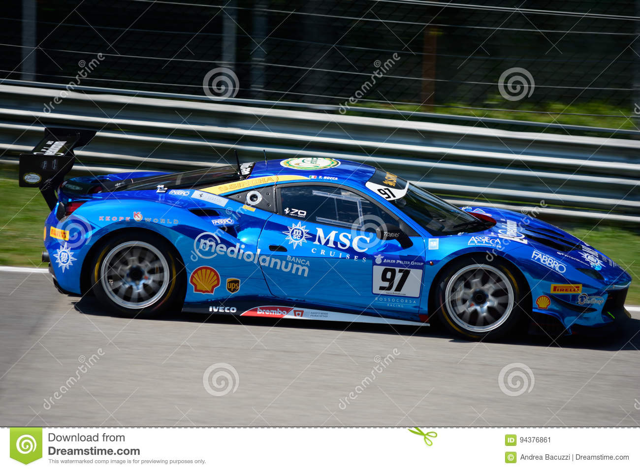 Chrome Blue Ferrari 488 Challenge In Action Editorial Photo Image Of Composite Efficiency 94376861
