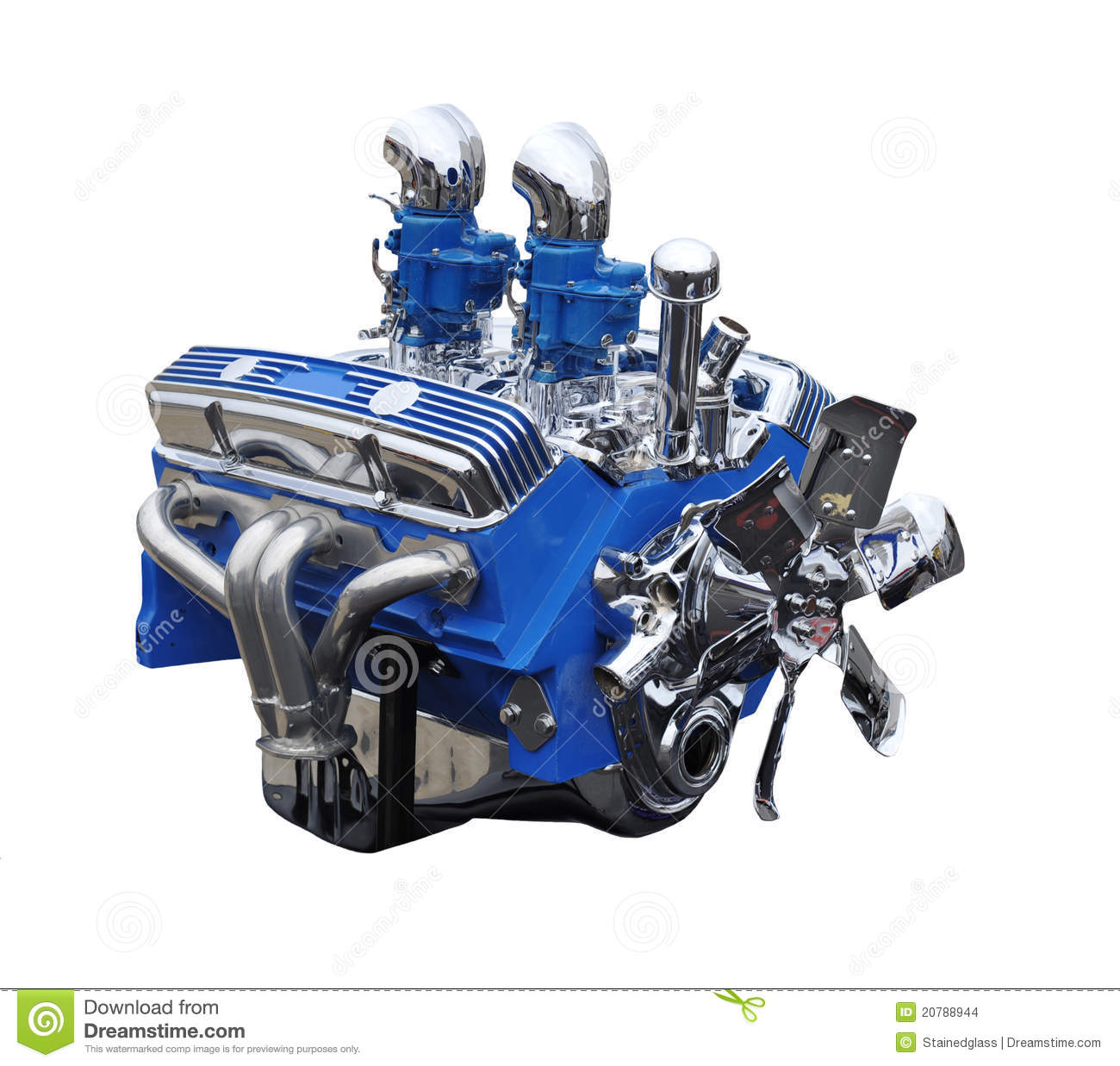 Chrome And Blue V8 Classic Car Engine Stock Images - Image