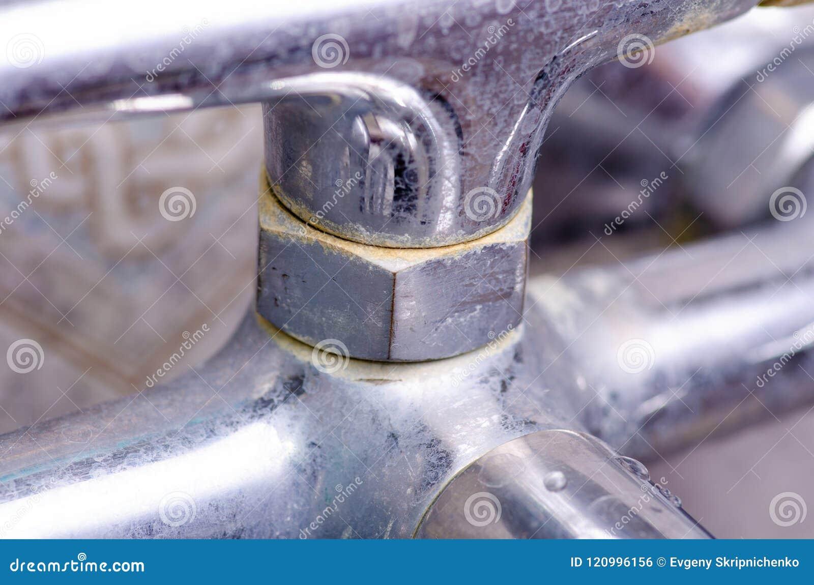 Chrome dirty faucet bathroom