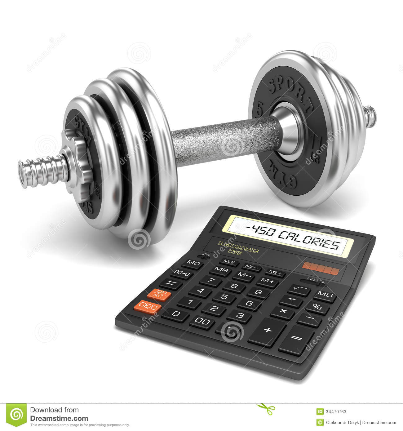 Chrome Dumbbell And Calculator Calories Stock Illustration