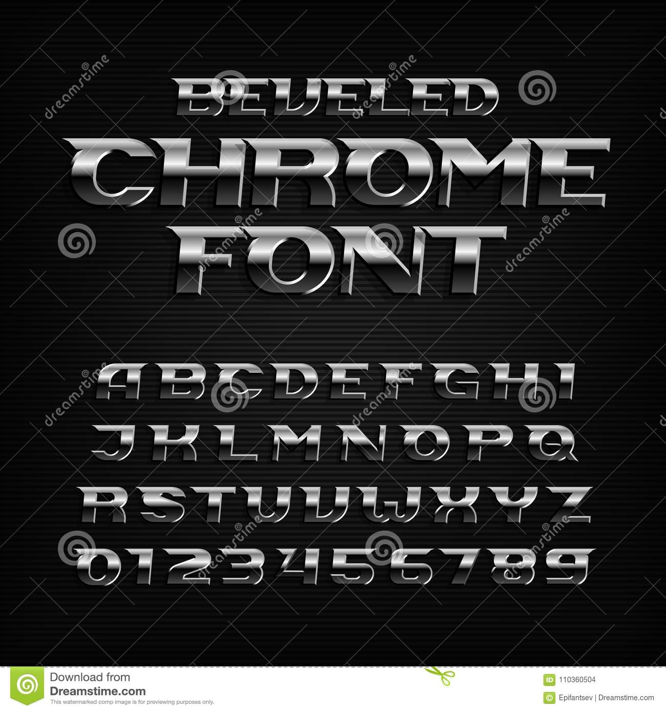 Chrome effect alphabet font. Steel oblique letters and numbers.