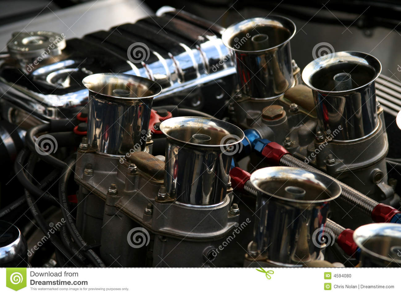 Chrome engine on classic american car stock photo image for New american classic