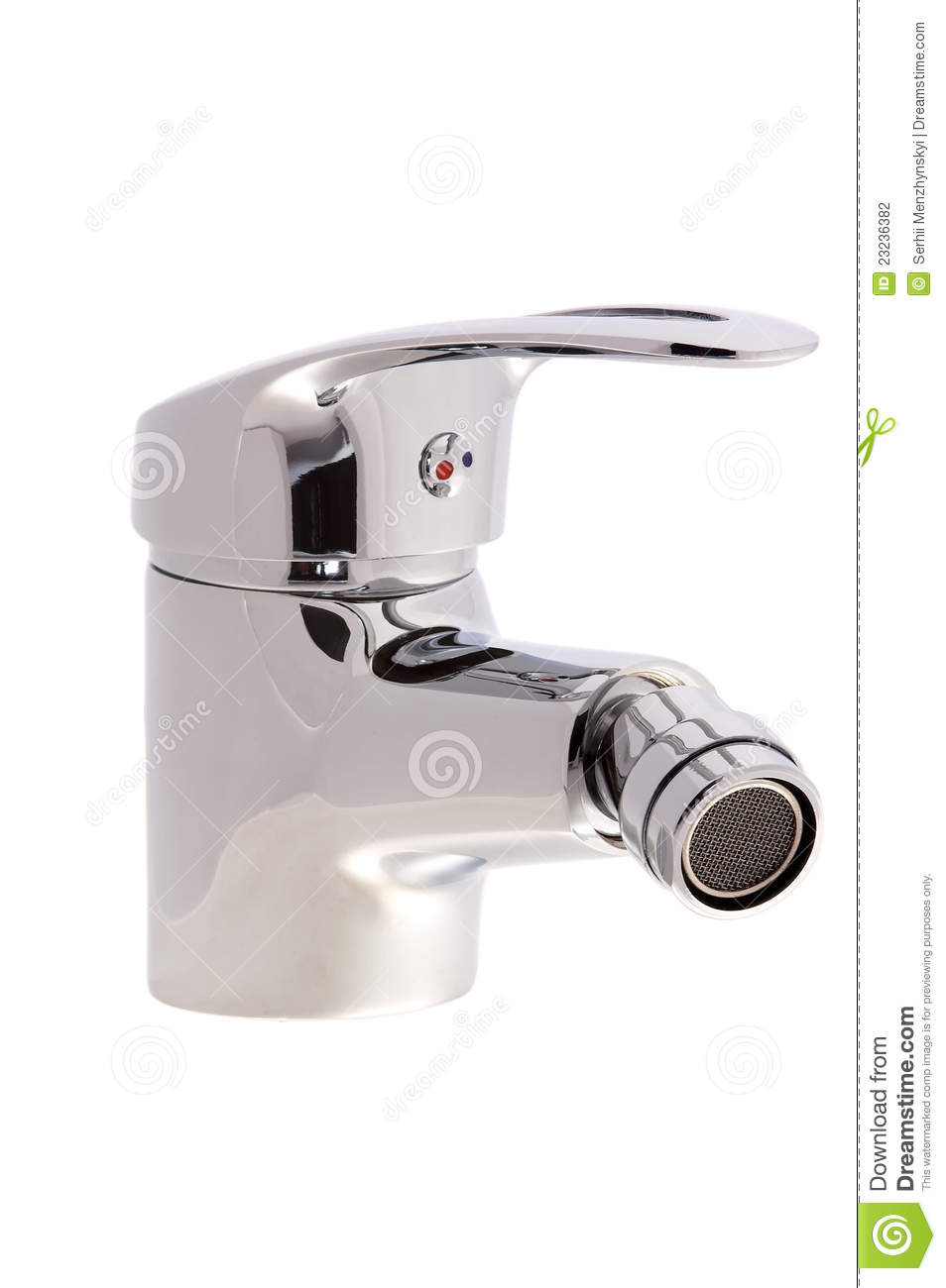 Chrome faucet water tap with a swivel head on an isolated background ...