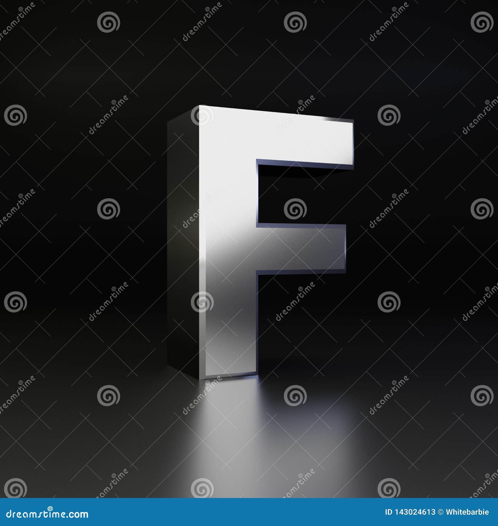 Chrome letter F uppercase. 3D render shiny metal font isolated on black background