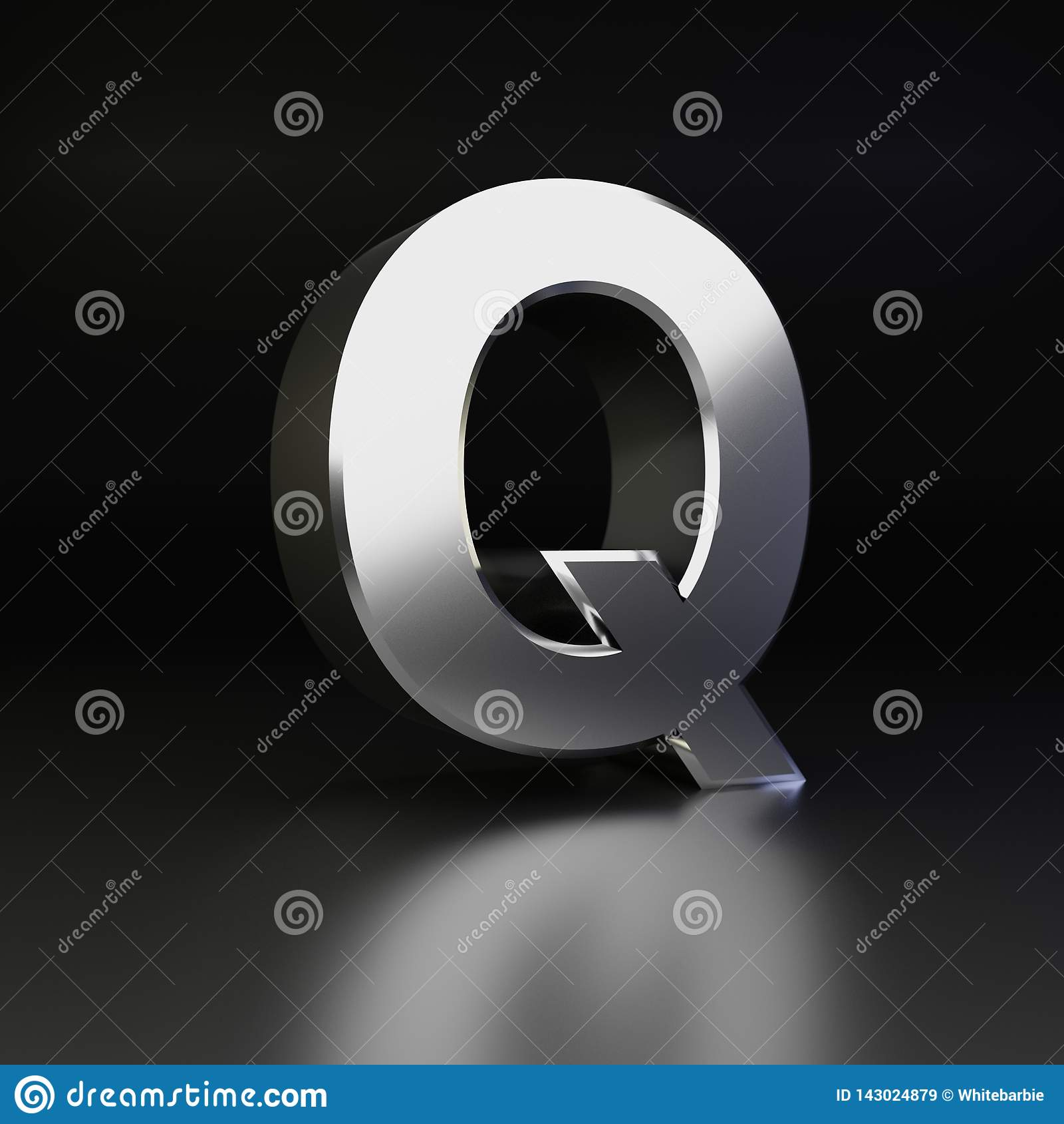 Chrome letter Q uppercase. 3D render shiny metal font isolated on black background