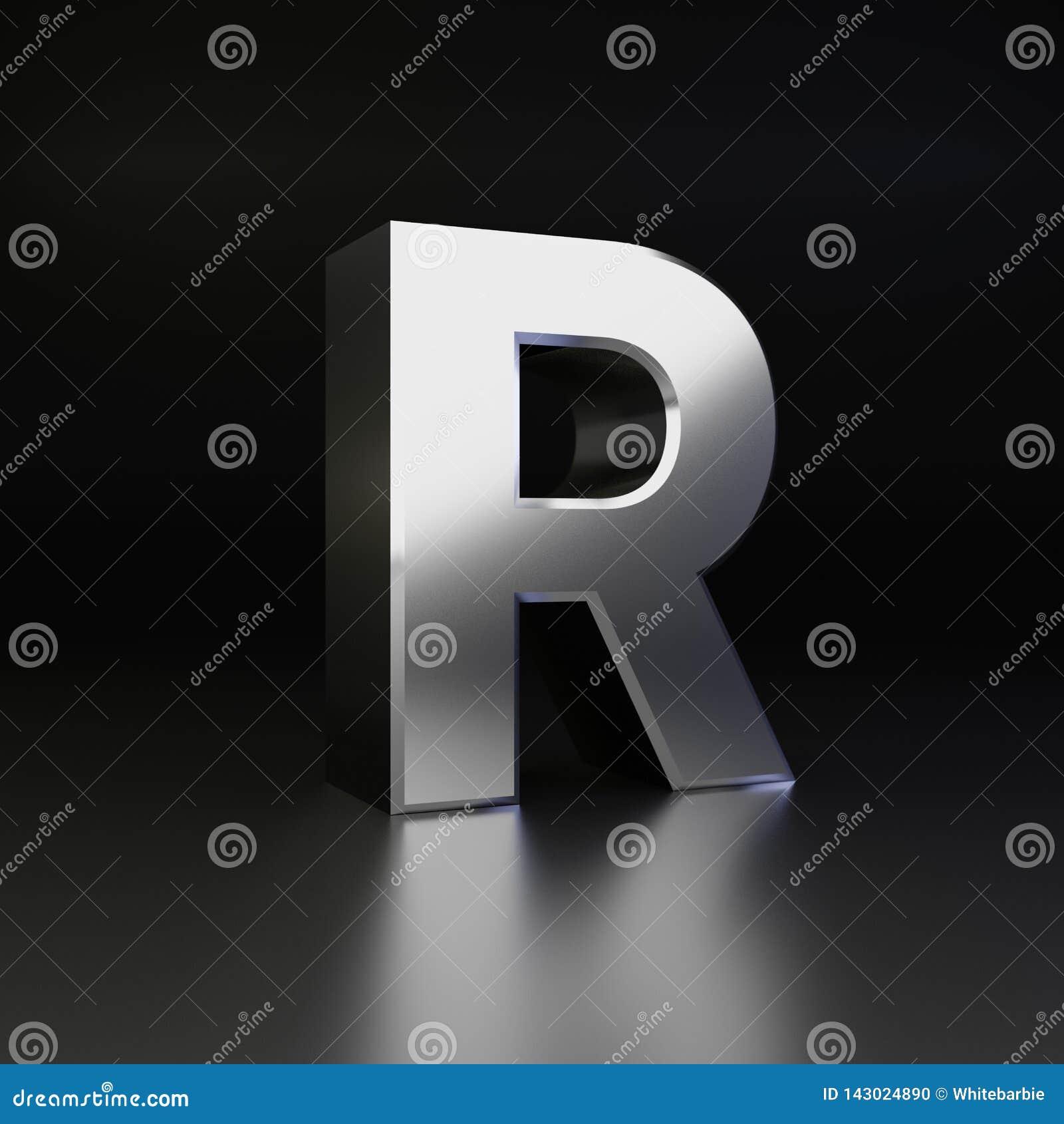 Chrome letter R uppercase. 3D render shiny metal font isolated on black background