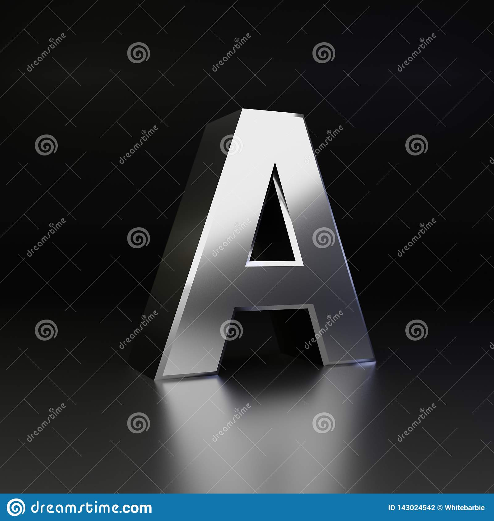 Chrome letter A uppercase. 3D render shiny metal font isolated on black background