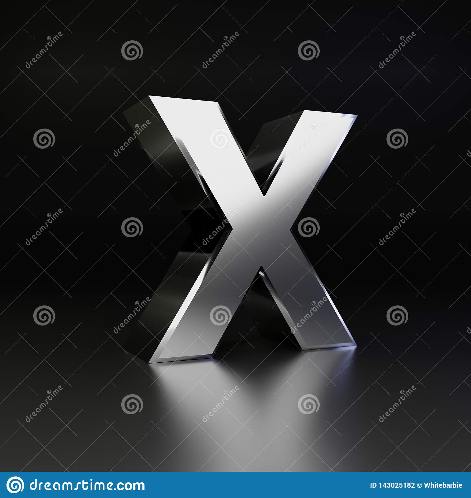 Chrome letter X uppercase. 3D render shiny metal font isolated on black background