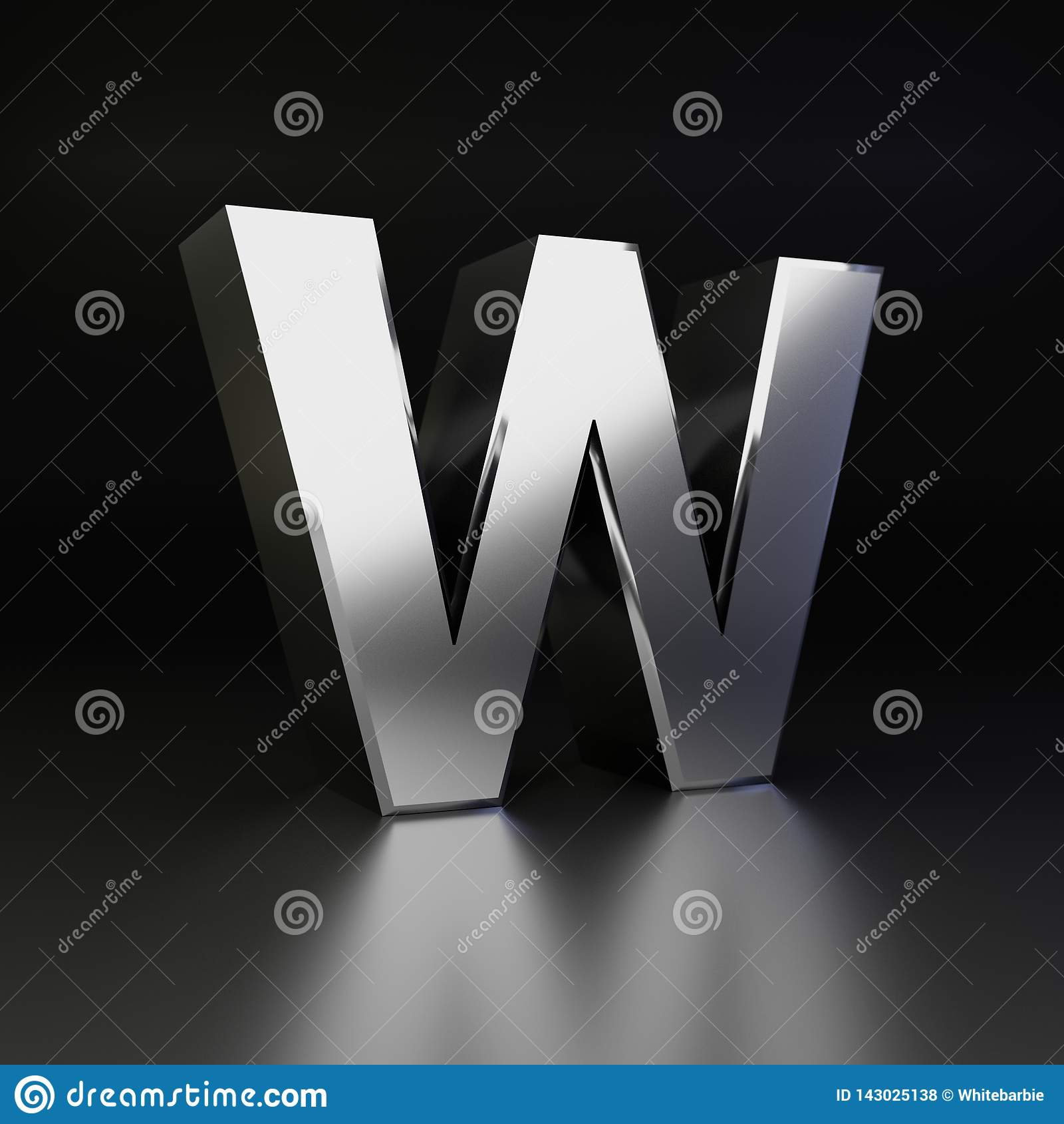 Chrome letter W uppercase. 3D render shiny metal font isolated on black background