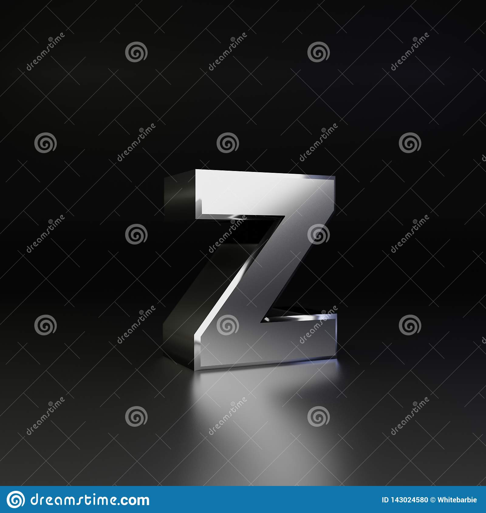 Chrome letter Z lowercase. 3D render shiny metal font isolated on black background