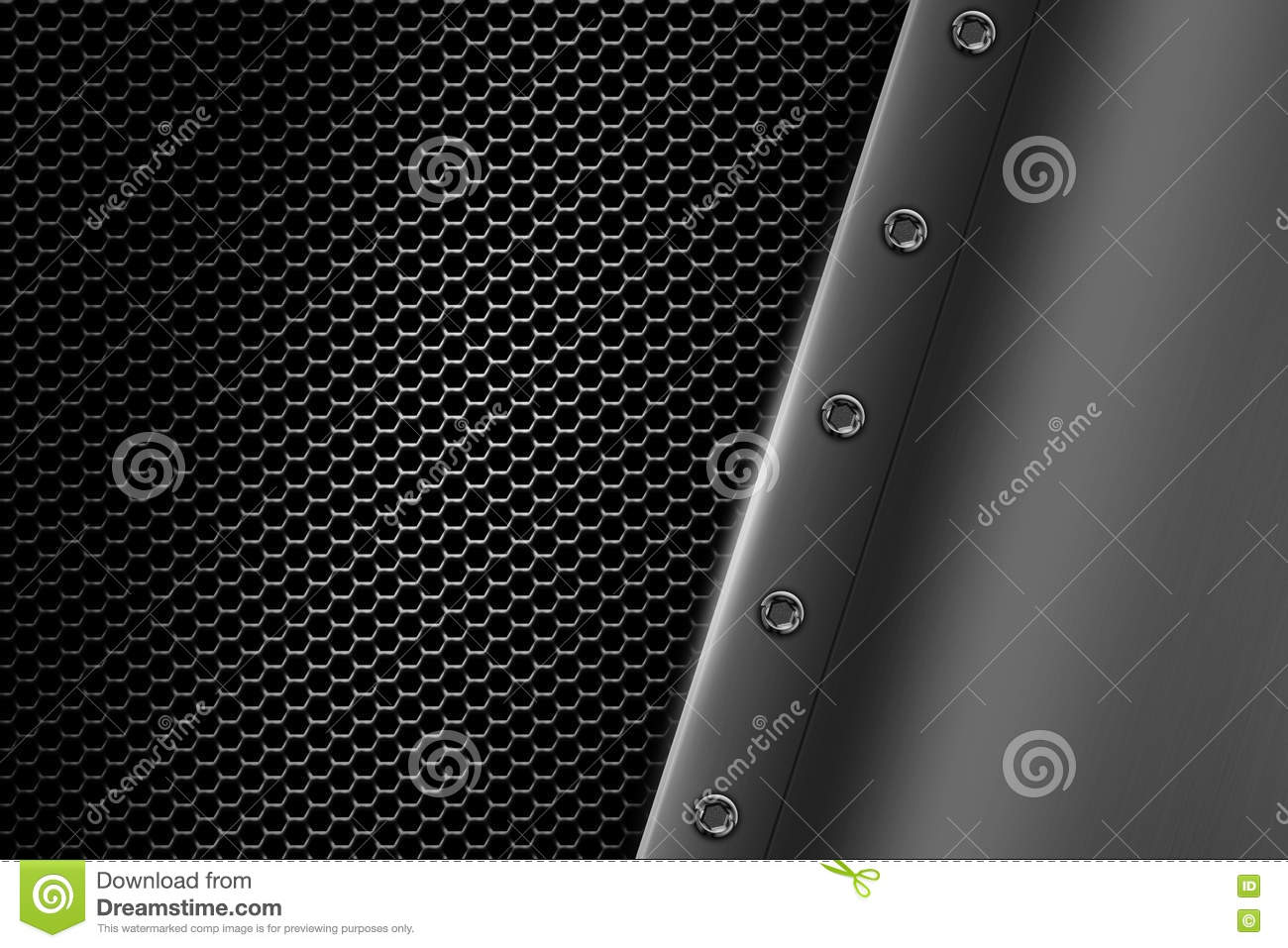 Chrome Metal Background With Rivet On Gray Metallic Mesh ...