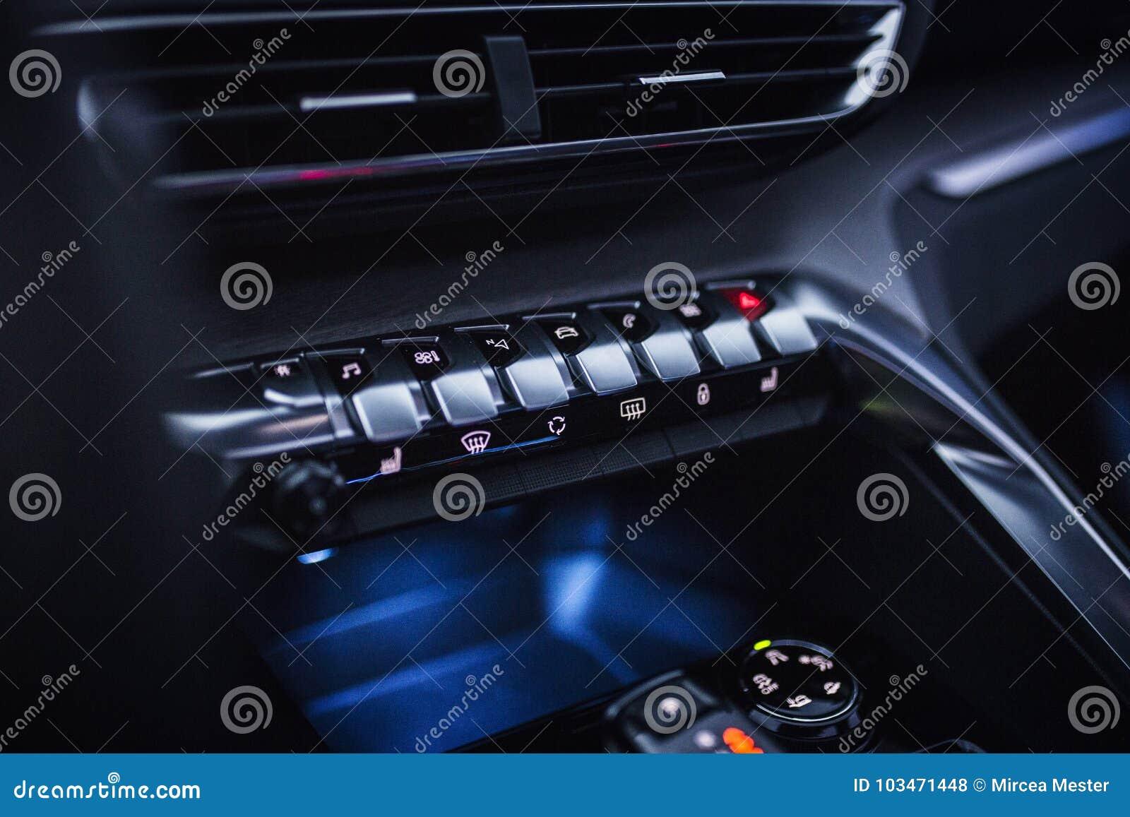 Car Interior: Chrome Metallic Button Controls