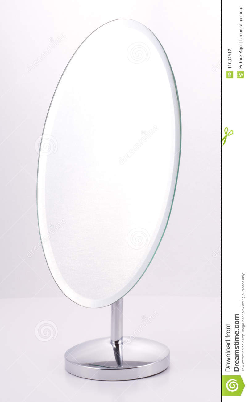 Chrome oval mirror with stand stock photography image for Silver stand up mirror