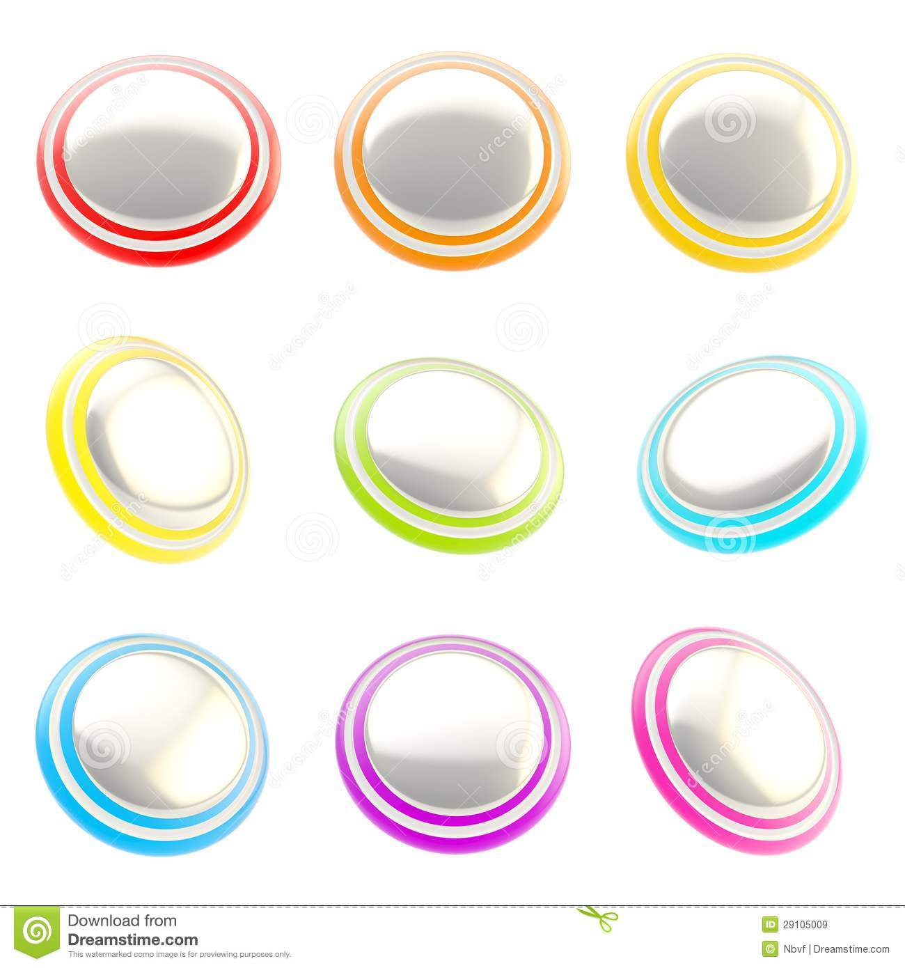 Chrome and rainbow colored glossy plastic round buttons