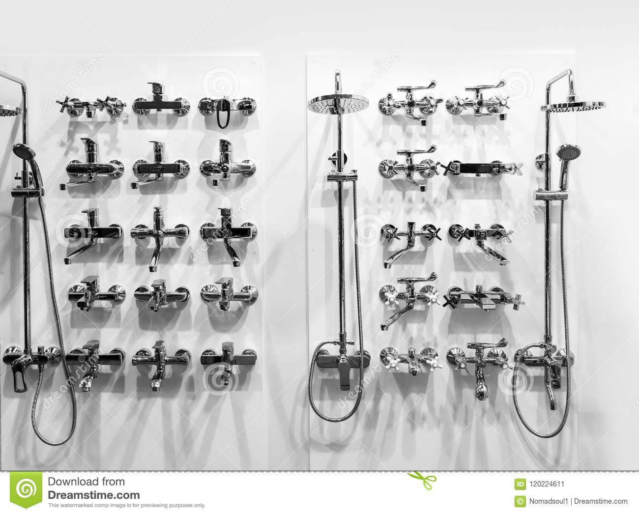 Chrome Showers And Faucets In Plumbing Shop Stock Image - Image of ...