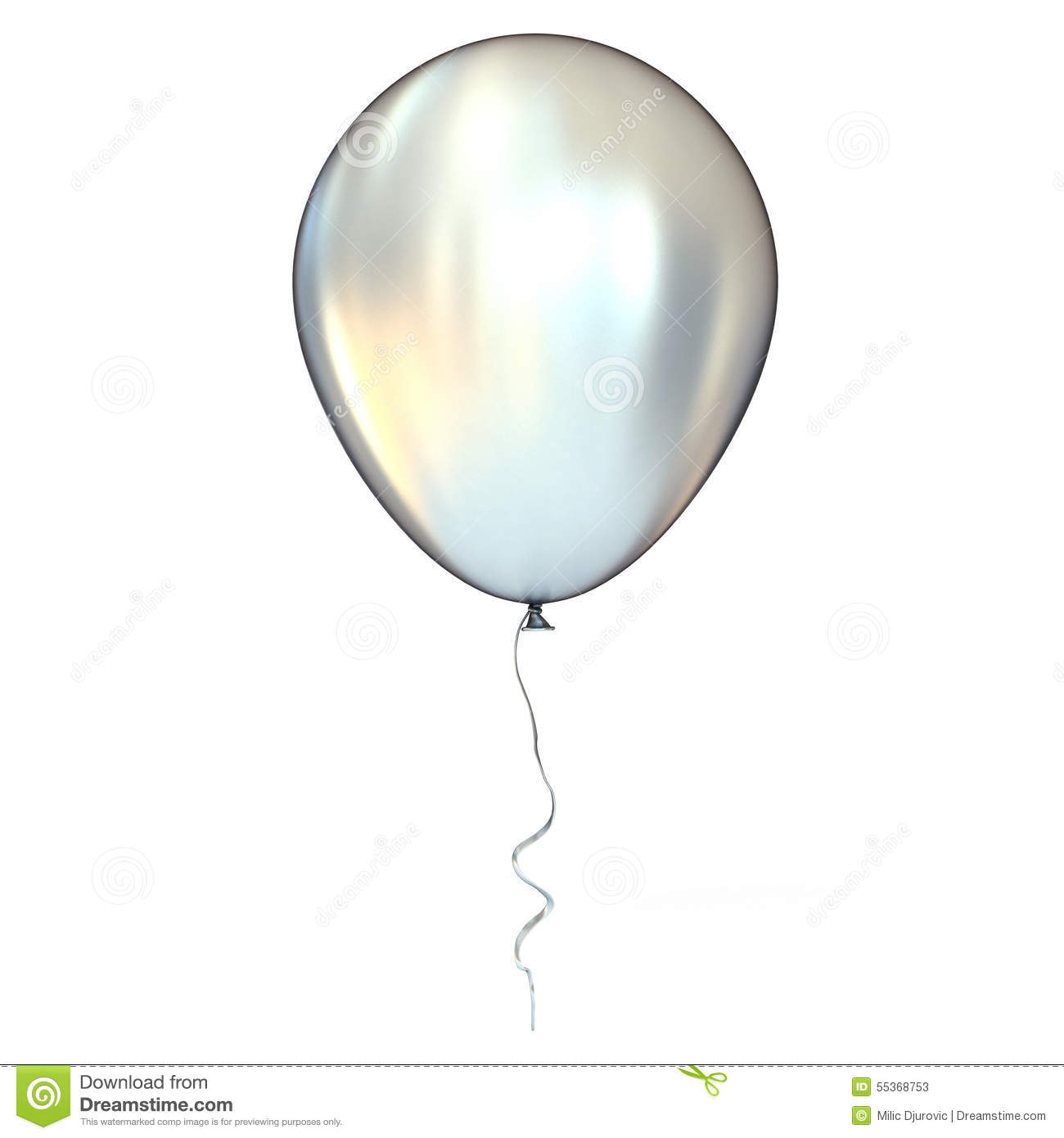 Chrome, Silver, Metallic Balloon With Ribbon Stock Photo - Image ...