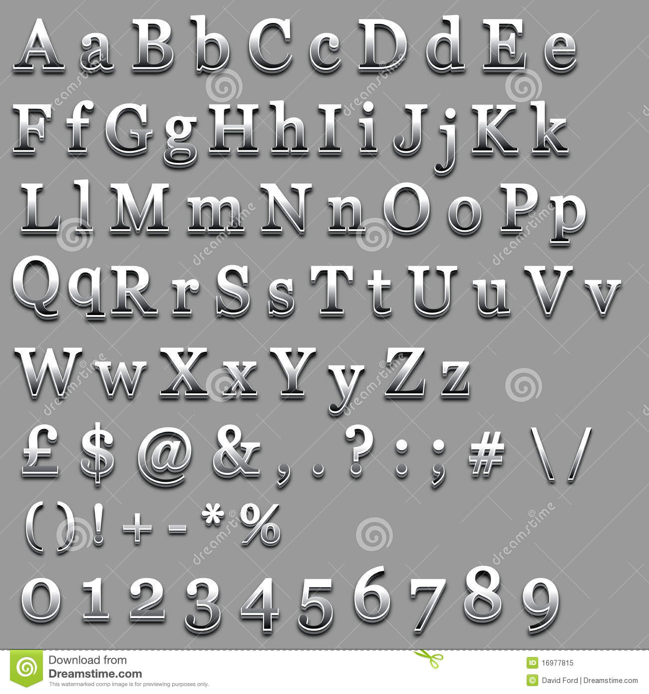 Chrome text stock vector image of font symbols typeface for Raised metal letters