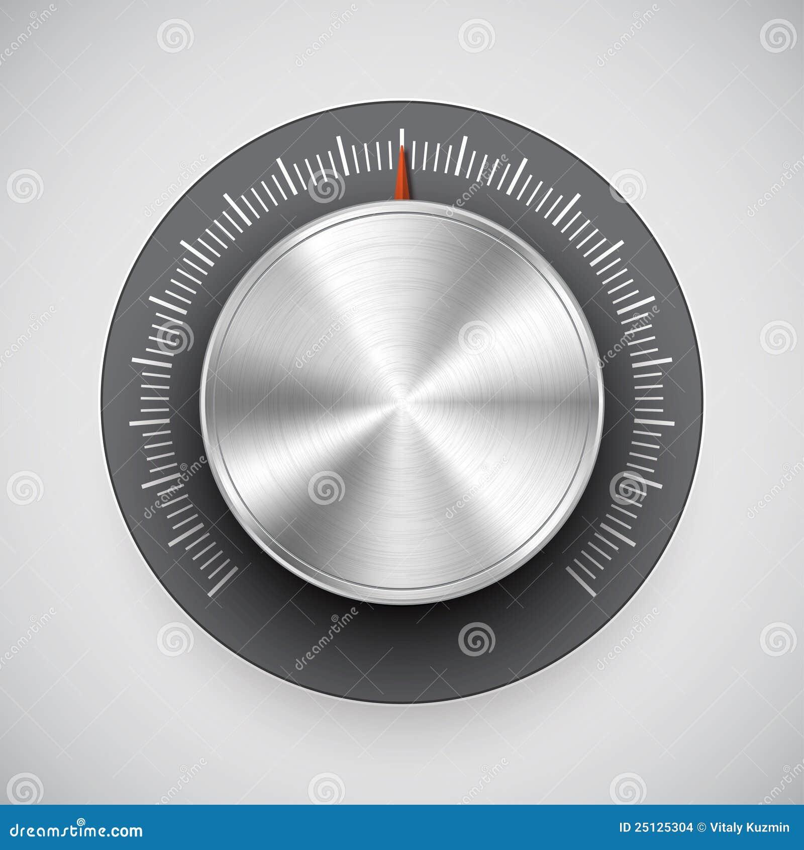 Volume Control Button : Chrome volume knob button music tuner stock vector