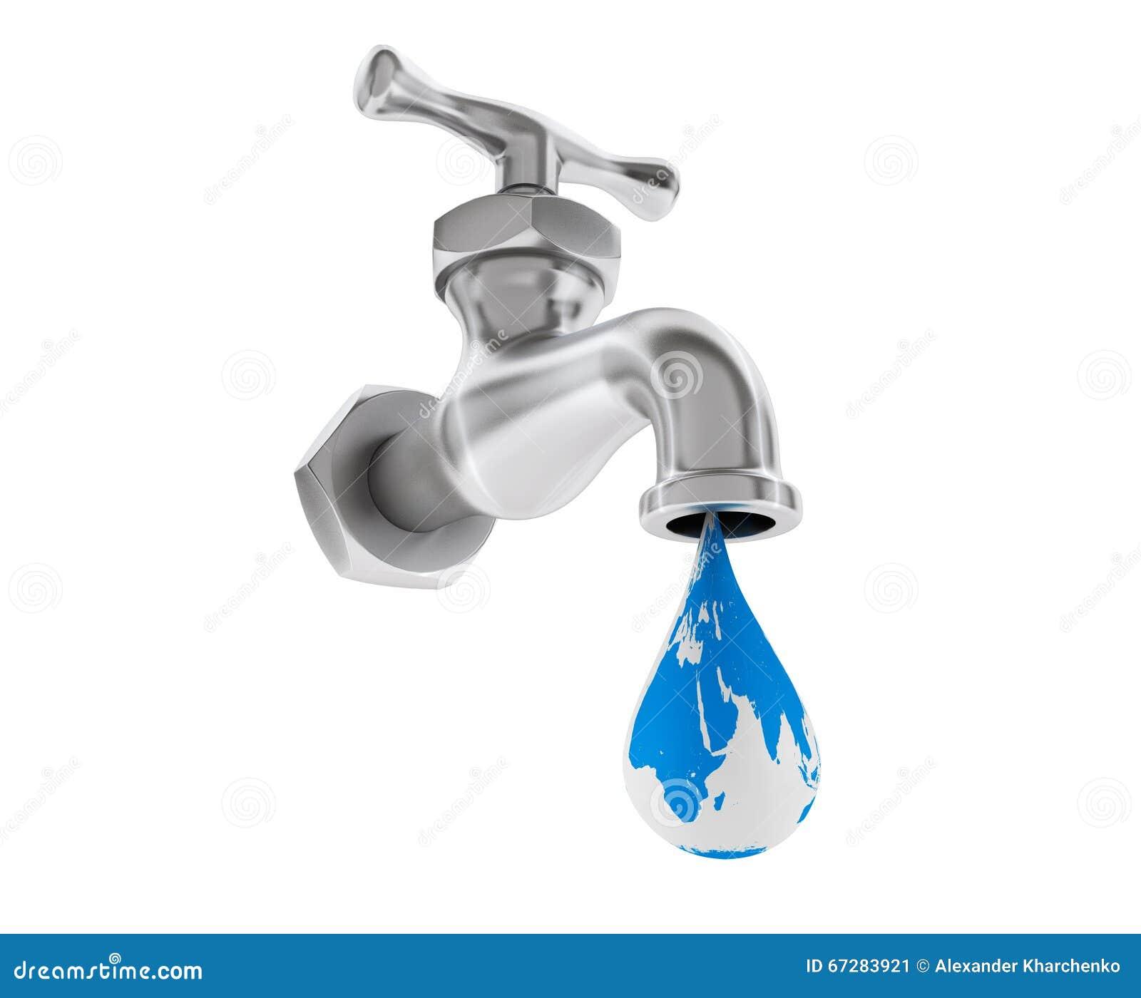 Chrome Wasser Hahn Mit Erdkugel Als Tropfen Stock Abbildung