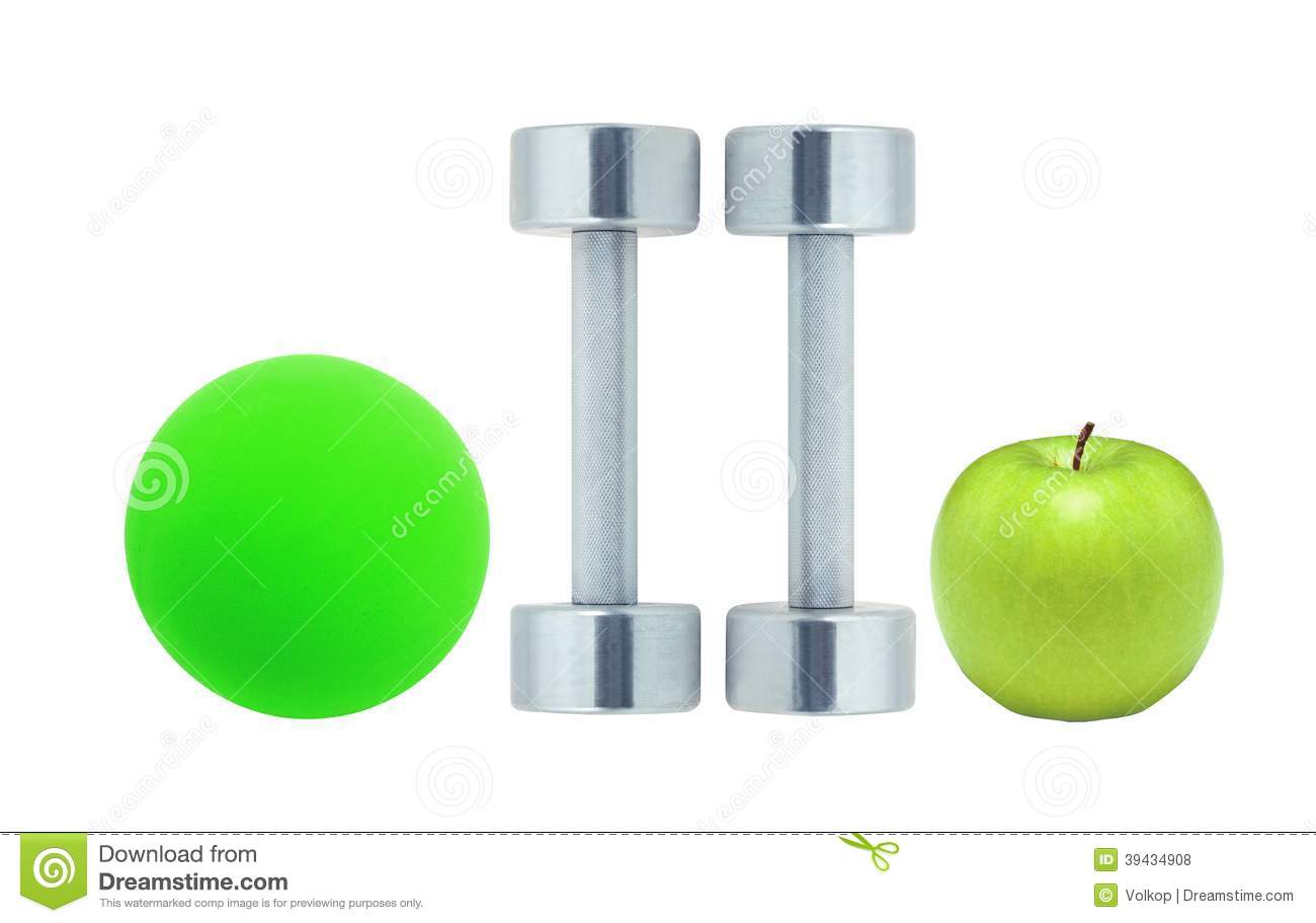 Green fitness ball on white royalty free stock photo
