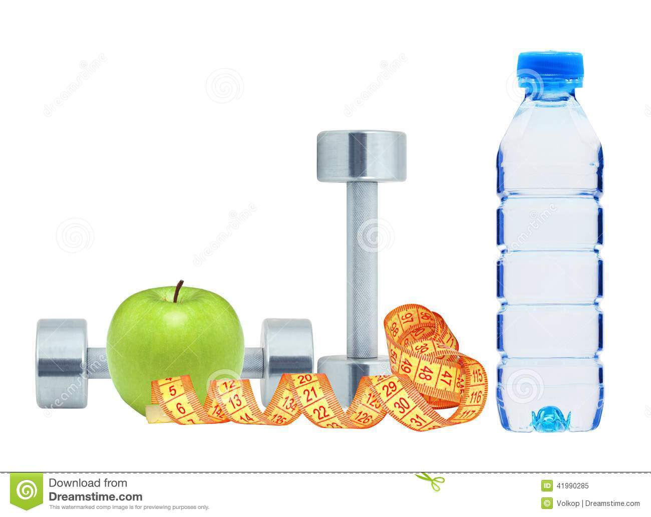 Dumbbells water and tape measure royalty free stock photo