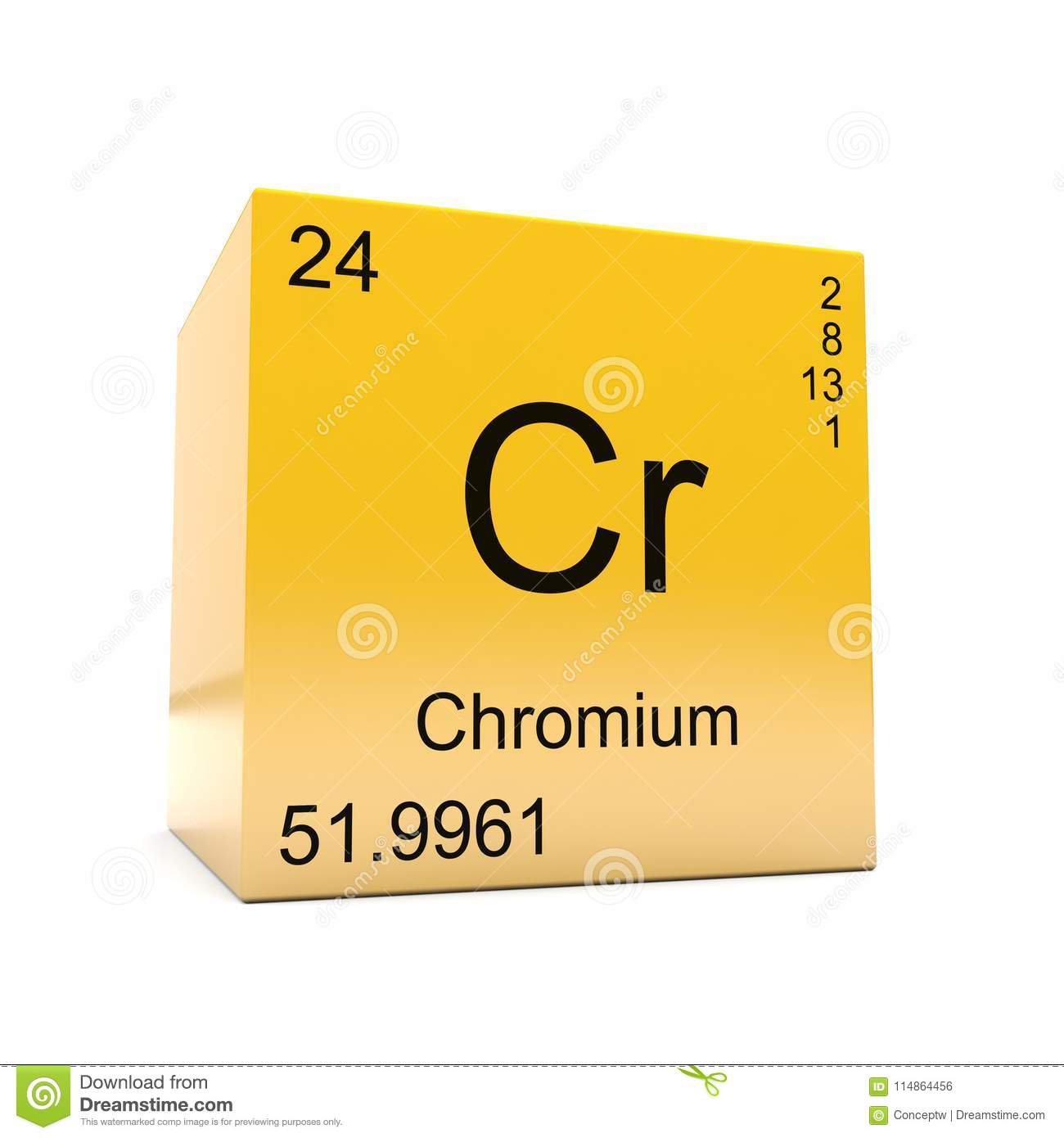 Chromium Chemical Element Symbol From Periodic Table Stock