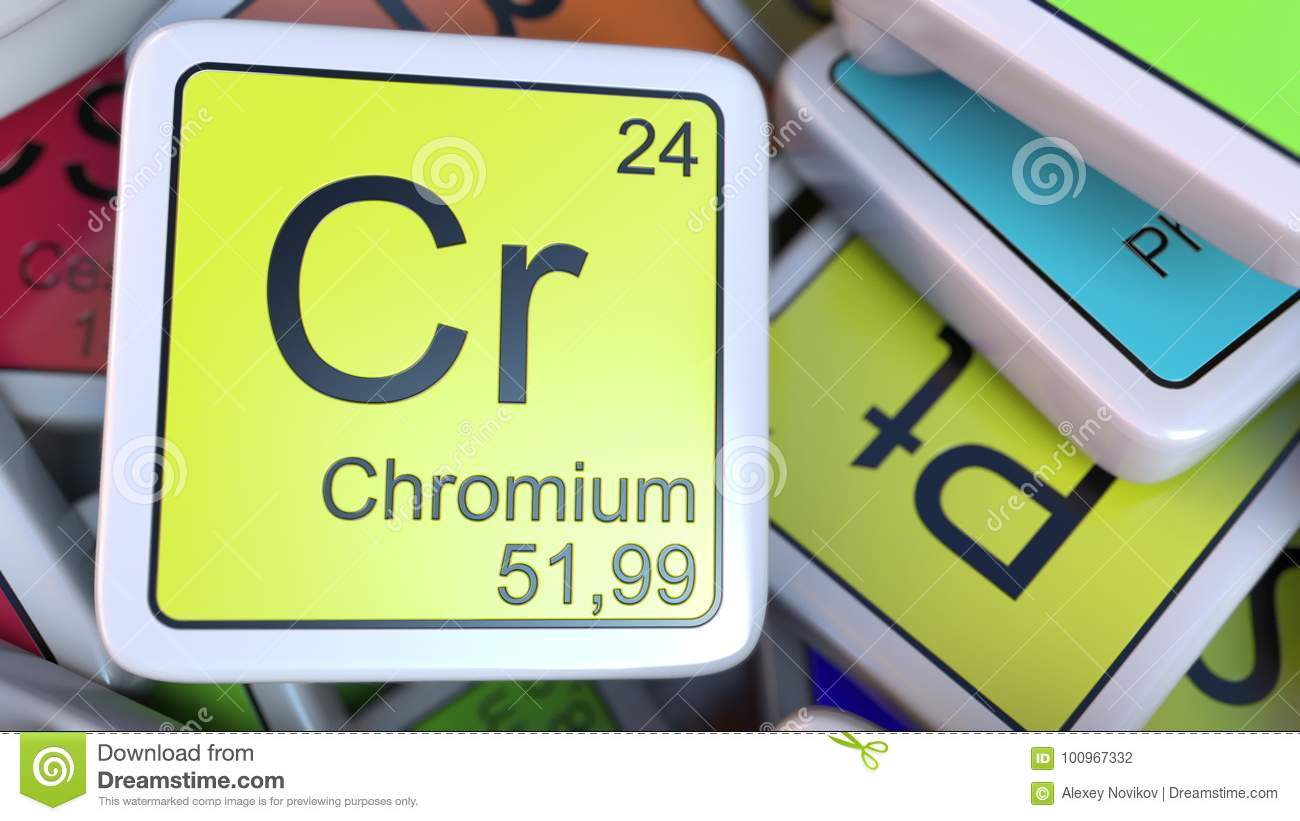 Chromium Cr Block On The Pile Of Periodic Table Of The Chemical