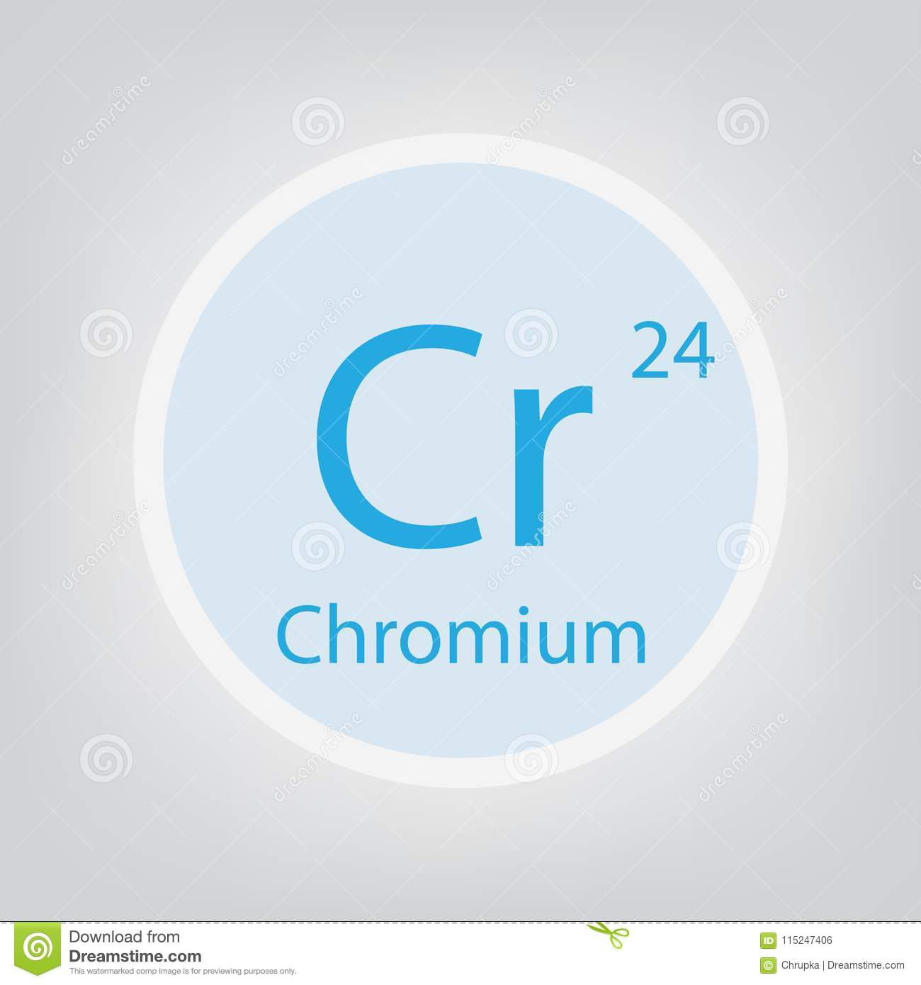 Chromium Cr Chemical Element Icon Stock Vector Illustration Of