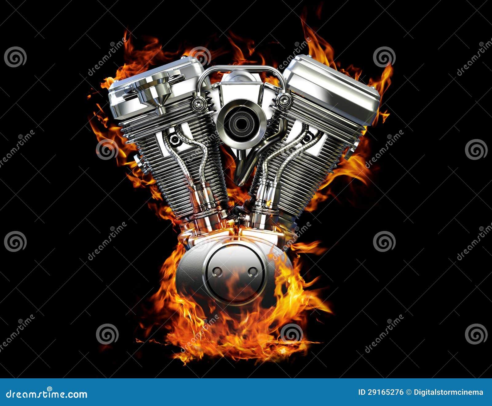 Chromowany motocyklu silnik na ogieniu