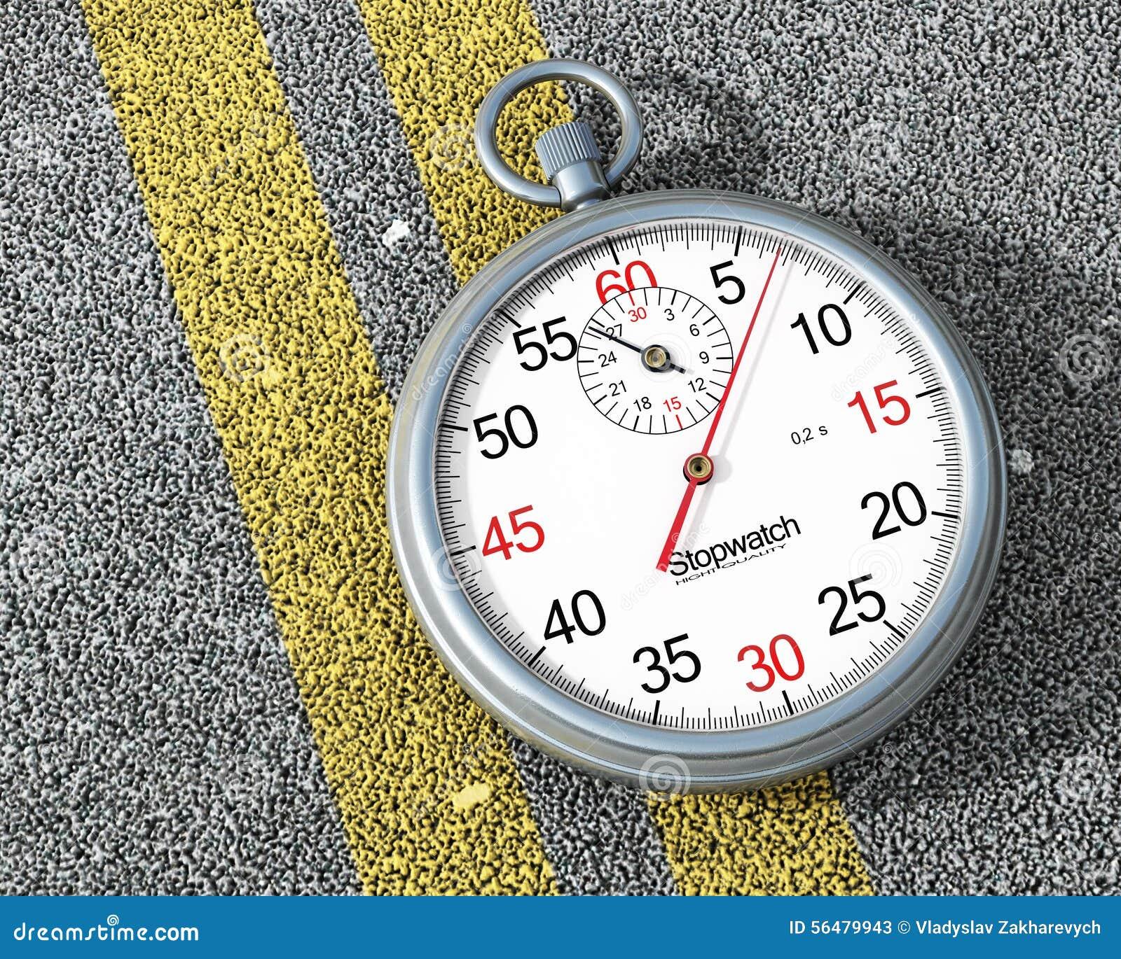 Chronomètre en acier sur la route