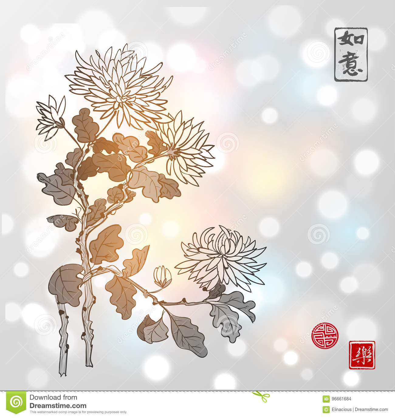 Chrysanthemum flowers in oriental style on white glowing background. Contains hieroglyphs - beauty, dreams come true