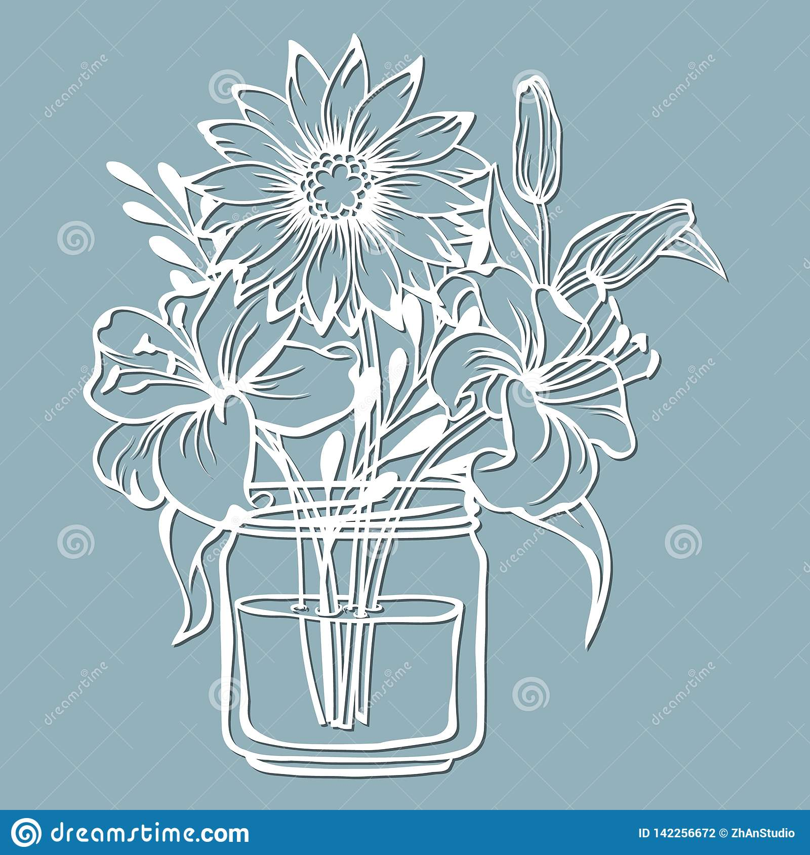 Chrysanthemum And Lily In A Jar Of Water Vector Illustration Paper