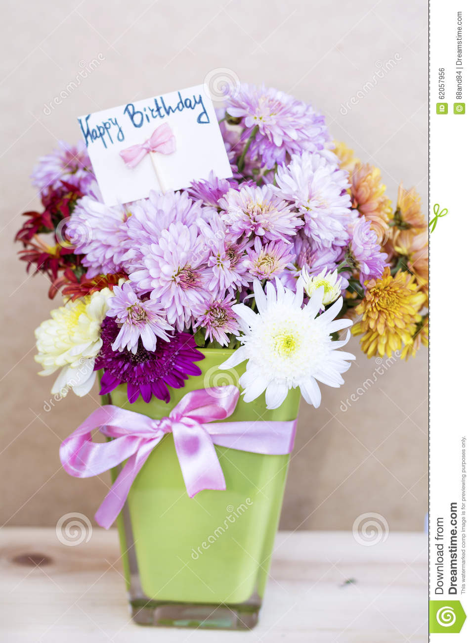 Chrysanthemums Flowers In Green Glass Vase With Happy Birthday Card