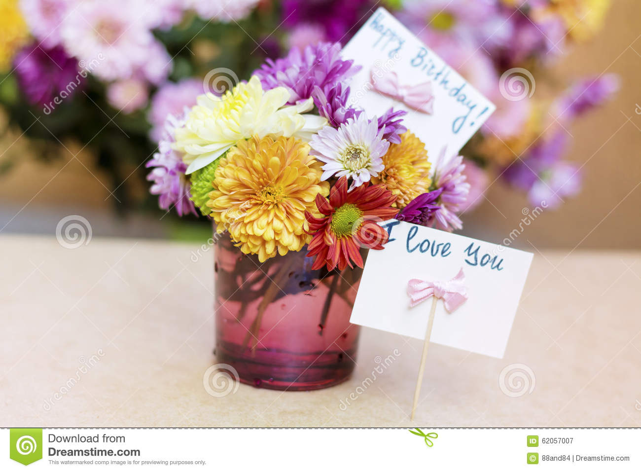Chrysanthemums flowers in purple glass vase with happy birthday card download chrysanthemums flowers in purple glass vase with happy birthday card stock image image of izmirmasajfo