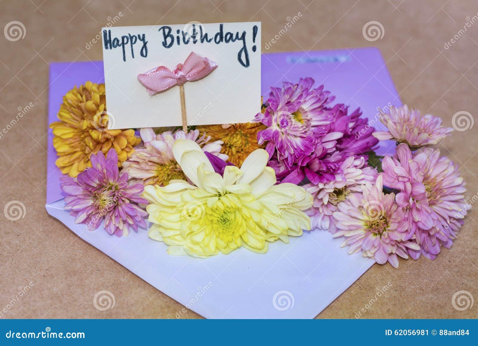 Chrysanthemums flowers in violet envelope with i happy birthday card chrysanthemums flowers in violet envelope with i happy birthday card stock image image of chrysanthemum celebrate 62056981 izmirmasajfo