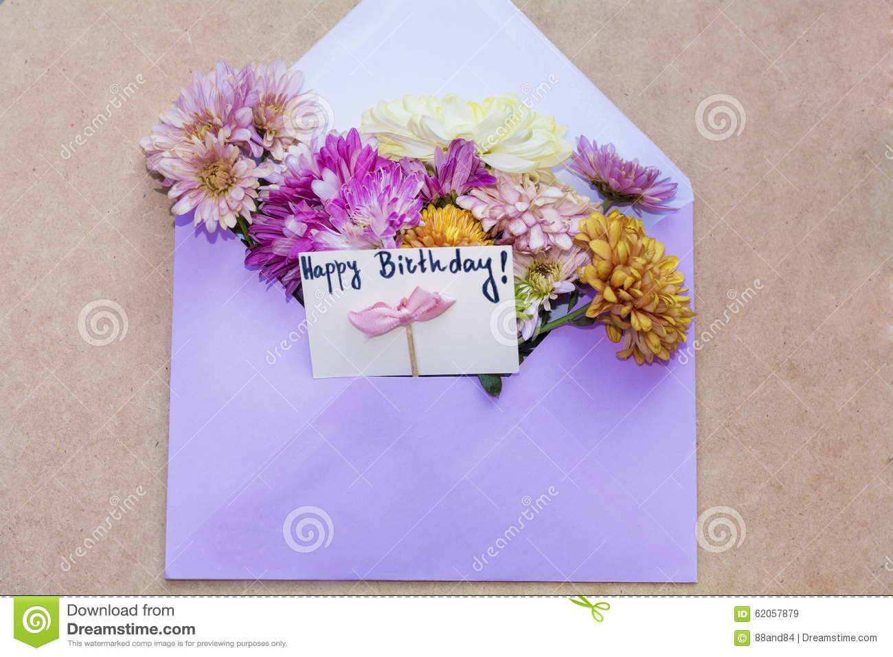 Chrysanthemums Flowers In Violet Envelope With I Happy Birthday Card