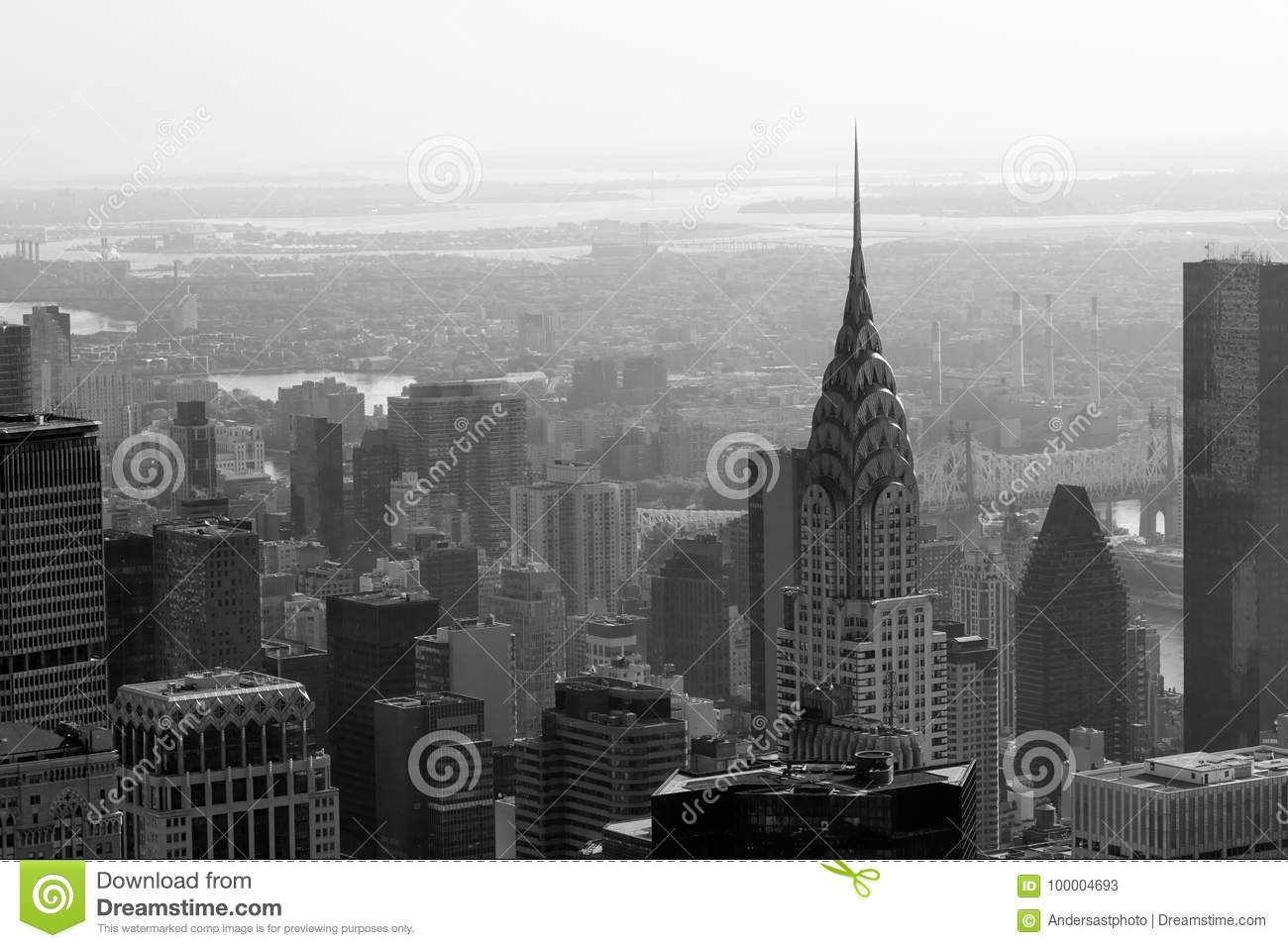 Chrysler Building And New York City Skyline Aerial View In Black White