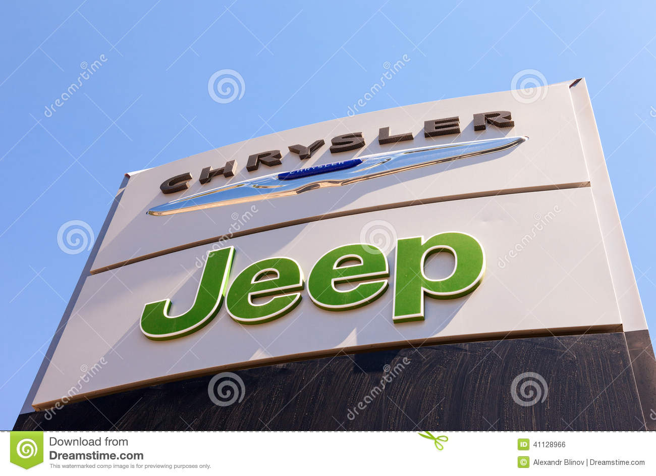Chrysler Jeep Automobile Dealership Sign Editorial Photo