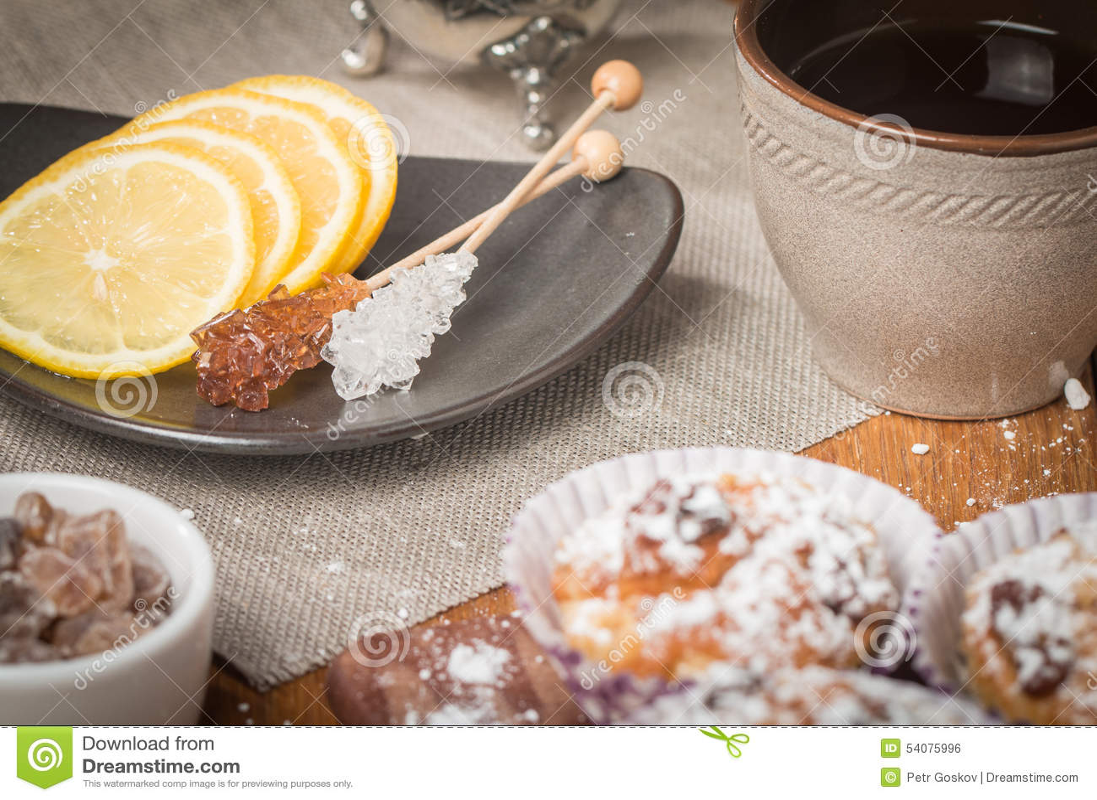 Chrystal suiker met citroen en thee