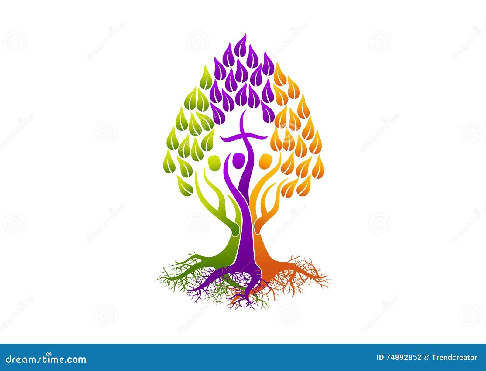 Chrześcijańscy ludzie logów, korzeniowy ikona świętego ducha drzewo, rodzinny kościelny wektorowy symbolu projekt