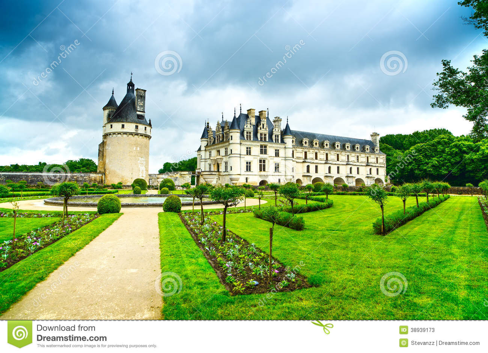 Ch teau et jardin de chateau de chenonceau france photo for Jardin en france
