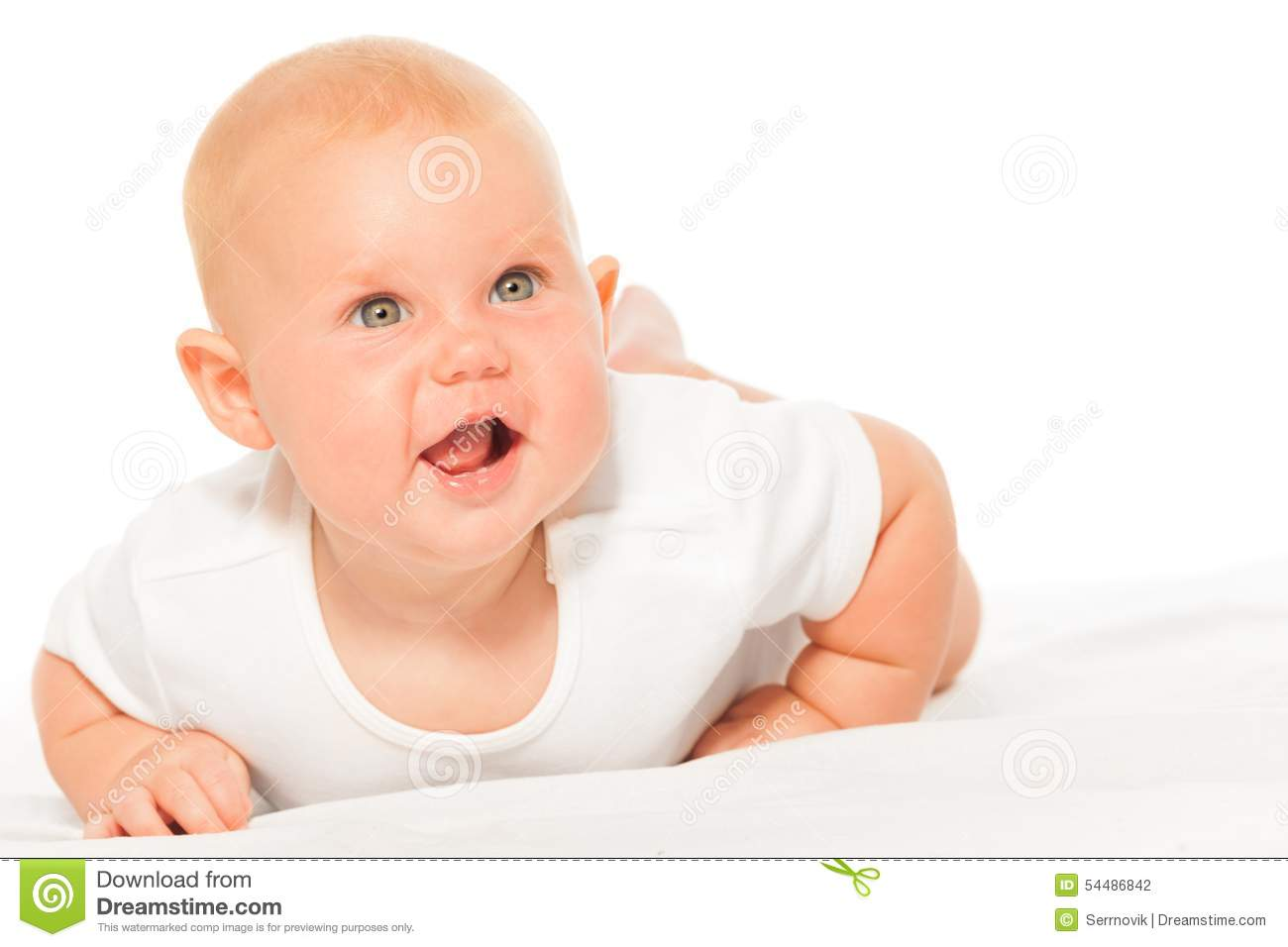 Chubby baby in bodysuit on white background crawls