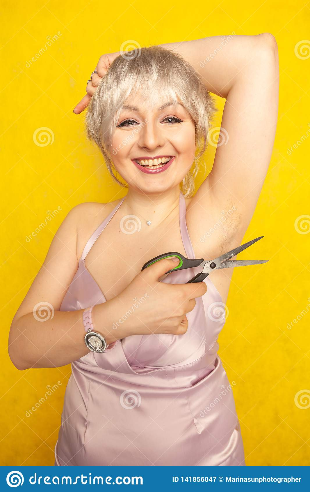 Chubby Girl In Dress With Unshaven Hairy Armpits And ...