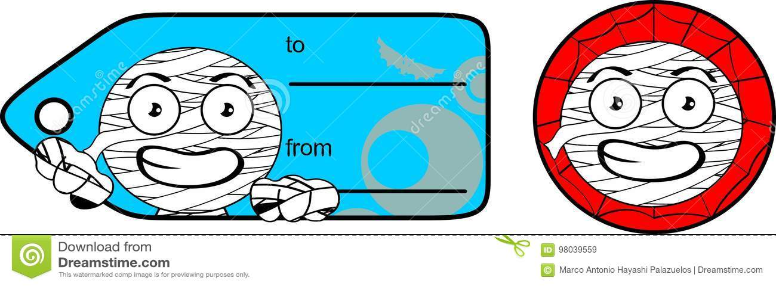 Chubby Little Mummy Cartoon Giftcard Sticker Expression Set Stock
