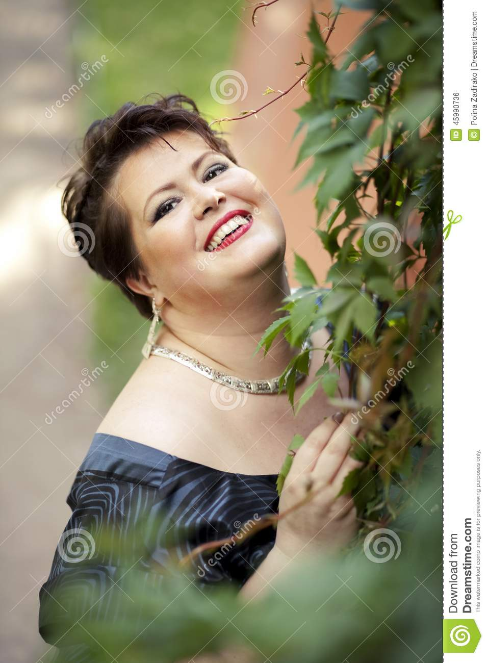 chubby woman smiling stock photo. image of model, overweight - 45990736