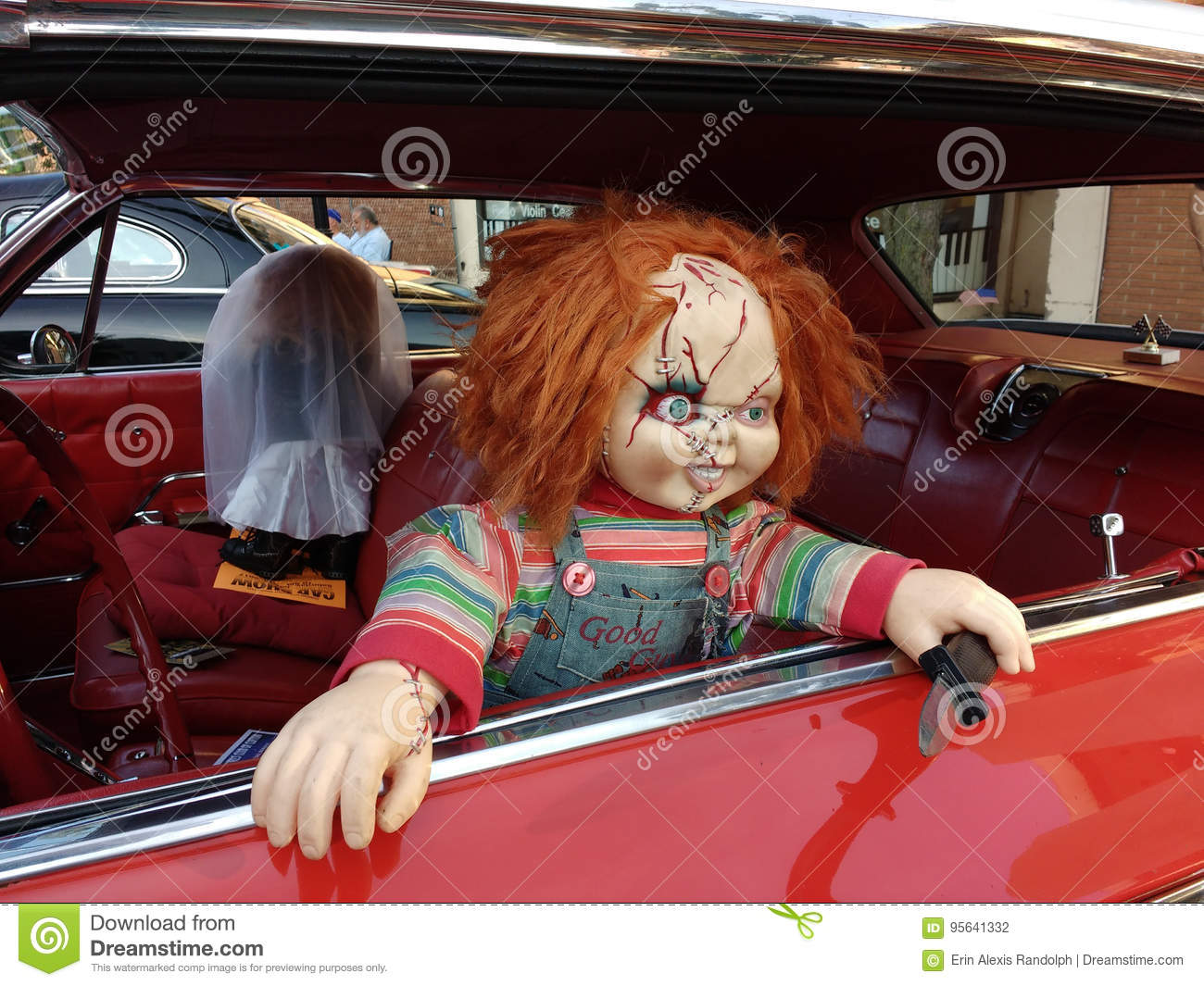 Chucky Doll in a Vintage Car, Horror Film Character