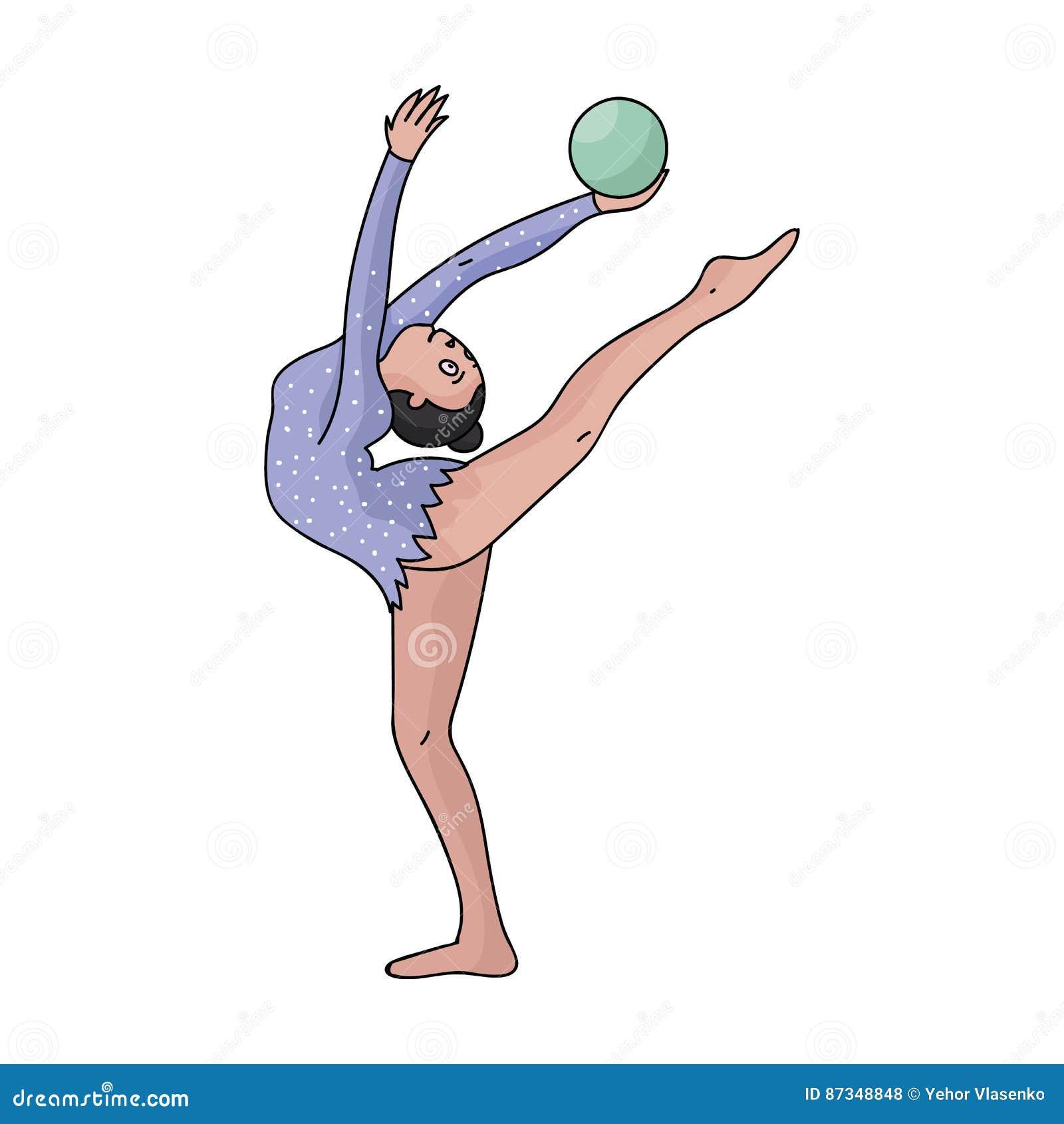 Chuderlawa dziewczyna z piłką w ręka tana sportach tanczy Dziewczyna angażuje w gimnastykach Olimpijscy sporty przerzedżą ikonę